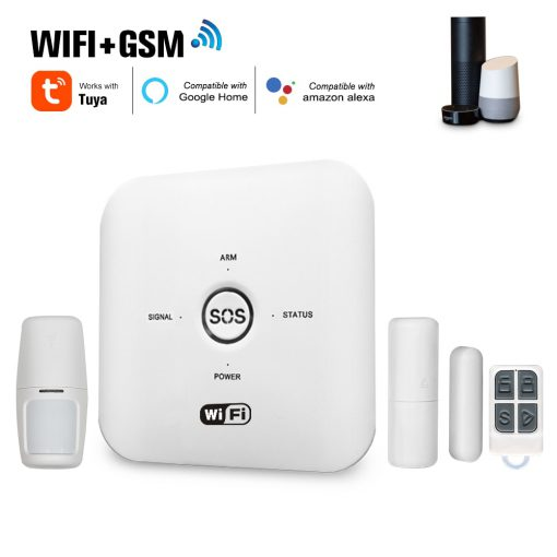 Tuya WIFI Smart GSM Home Security Alarm System PIR Remote Controlled for Alexa Google Assistant 100-240V Alarm System for Home