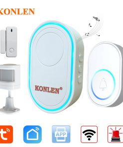 Tuya Smart WIFI Doorbell Alarm Hub Chime Ring Home Security Alarm System Wireless Door Sensor PIR Motion Water Leak Detector 433